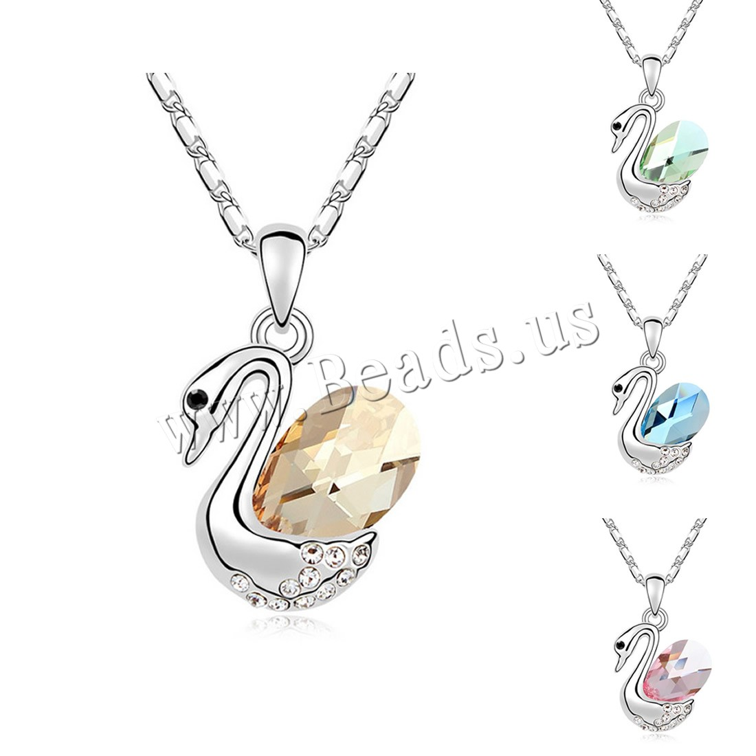 Buy CRYSTALLIZED™ Element Crystal Necklace Brass CRYSTALLIZED™ 5cm extender chain Swan platinum plated bar chain & woman & faceted colors choice nickel lead & cadmium free 18x28mm Sold Per Approx 15.5 Inch Strand