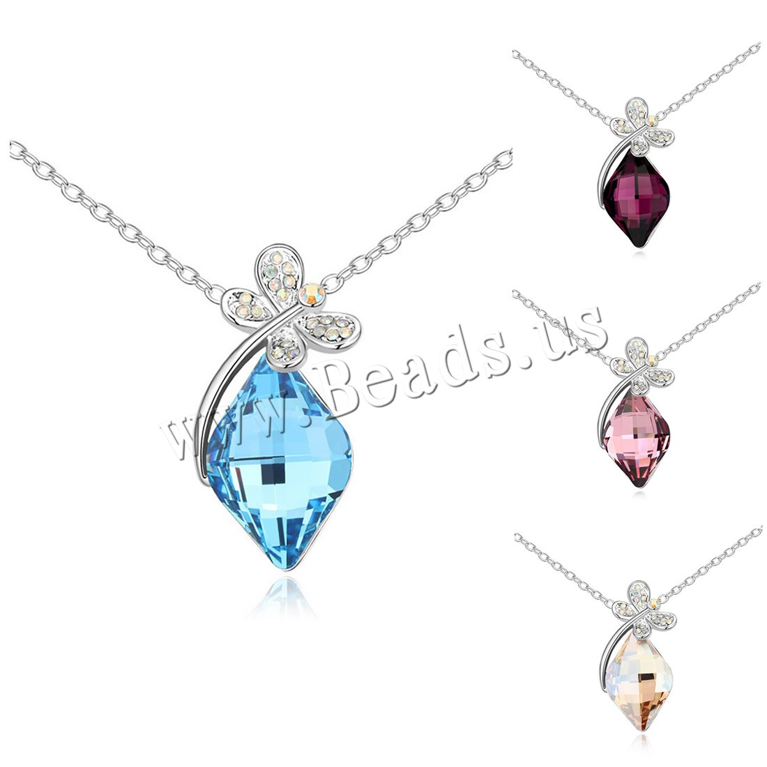 Buy CRYSTALLIZED™ Element Crystal Necklace Brass CRYSTALLIZED™ 5cm extender chain platinum plated oval chain & woman & faceted colors choice nickel lead & cadmium free 17x35mm Sold Per Approx 15.5 Inch Strand
