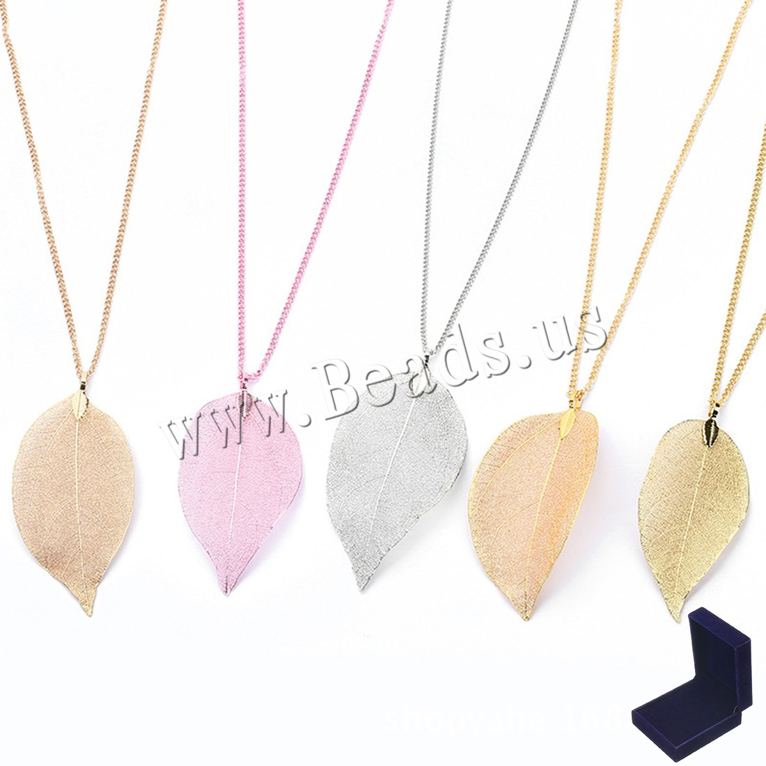 Buy Filigree Real Natural Leaf Sweater Necklace Bohemian Style Velvet box & Brass plated natural & Unisex colors choice 8mm Sold Per Approx 27.5 Inch Strand