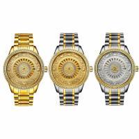 Edelstahl Armbanduhr, mit Glas, plattiert, 30 m wasserdicht & stem-Winder & für den Menschen & mit Strass, keine, 41x41x15mm, 18mm, Länge:ca. 9.4 ZollInch, verkauft von PC
