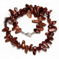 Süßwasserperlen Messing Halskette, Natürliche kultivierte Süßwasserperlen, Messing Karabinerverschluss, Zahn, für Frau, keine, 10-20mm, verkauft per ca. 17.5-18 ZollInch Strang