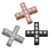 Befestiger Zirkonia Messing Schmuckverbinder, Kreuz, plattiert, Mehrloch- & Micro pave Zirkonia, keine, 10x10x3mm, Bohrung:ca. 0.5x0.5mm, 10PCs/Menge, verkauft von Menge
