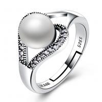 Thailand Open -Finger-Ring, mit Muschelkern, Herz, einstellbar & für Frau & mit kubischem Zirkonia, 8mm, Größe:8, verkauft von PC