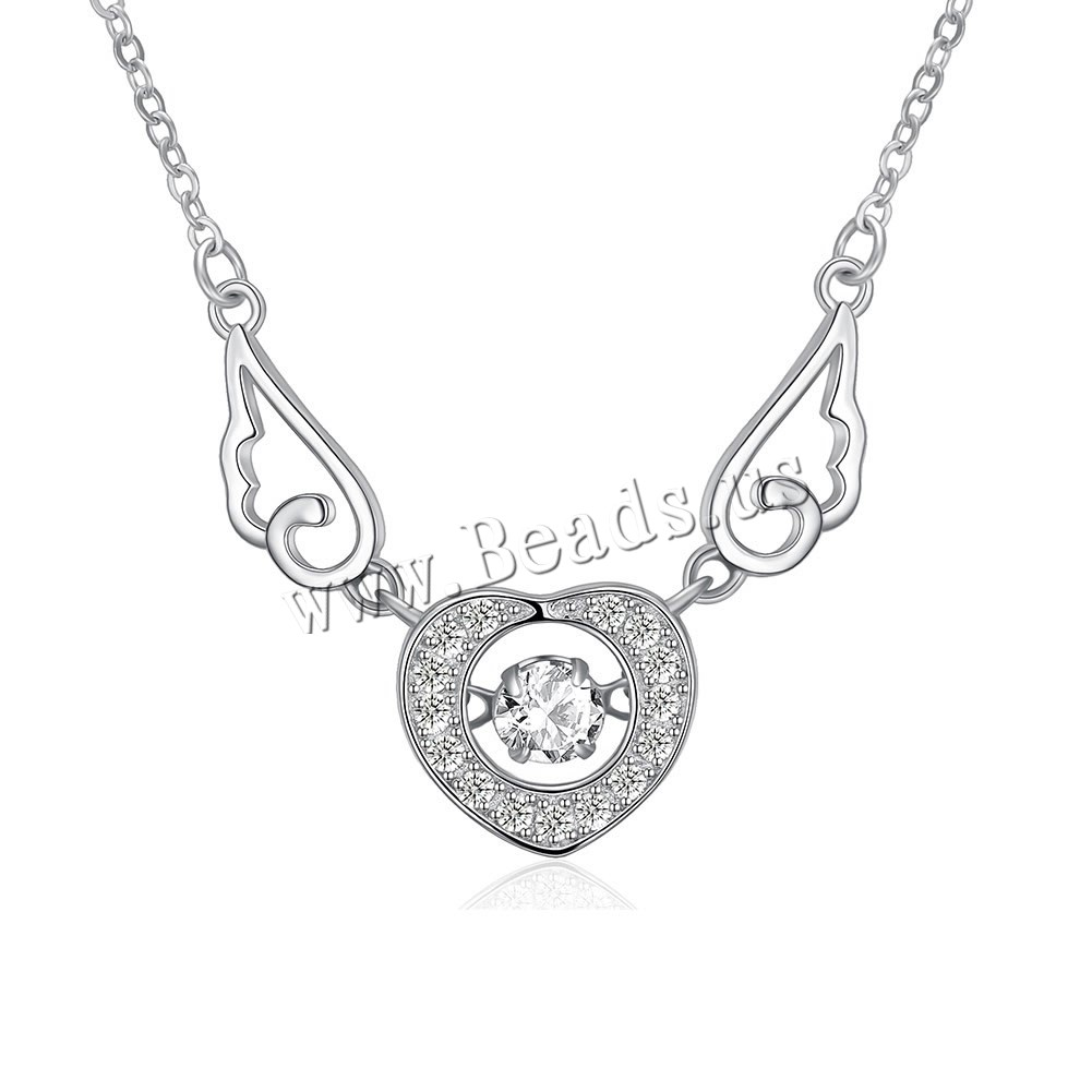 Buy 925 Sterling Silver Necklace 1.9lnch extender chain Winged Heart platinum plated oval chain & micro pave cubic zirconia & woman 12x11mm Sold Per Approx 17.3 Inch Strand