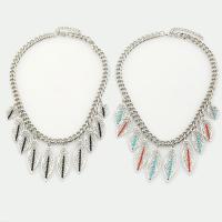 Zinklegierung Halskette, mit Glas-Rocailles, mit Verlängerungskettchen von 5cm, Blatt, Platinfarbe platiniert, Twist oval & für Frau, keine, frei von Blei & Kadmium, 450mm, verkauft per ca. 17.5 ZollInch Strang