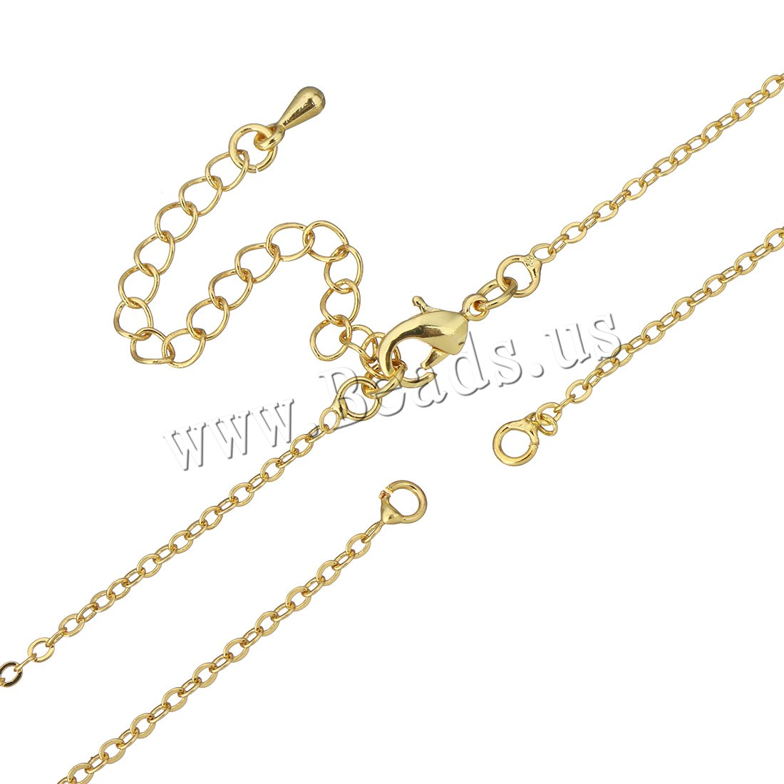 Buy Brass Necklace Findings 2.5Inch extender chain real gold plated oval chain 2.50x2x0.50mm Length:Approx 17 Inch 50Strands/Bag Sold Bag