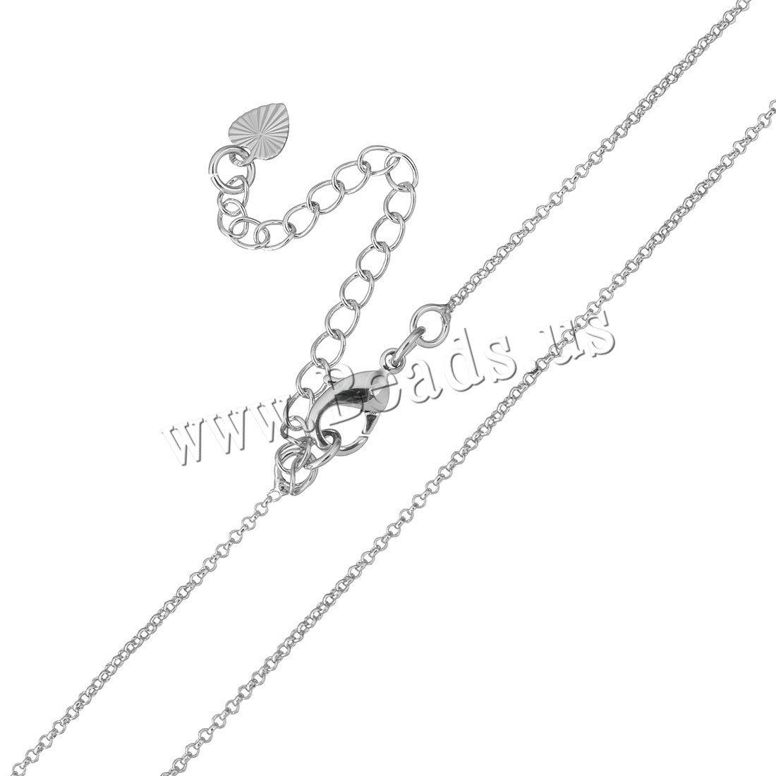 Buy Brass Necklace Chain 2Inch extender chain platinum plated round link chain & woman 1.20mm Length:Approx 17 Inch 50Strands/Bag Sold Bag