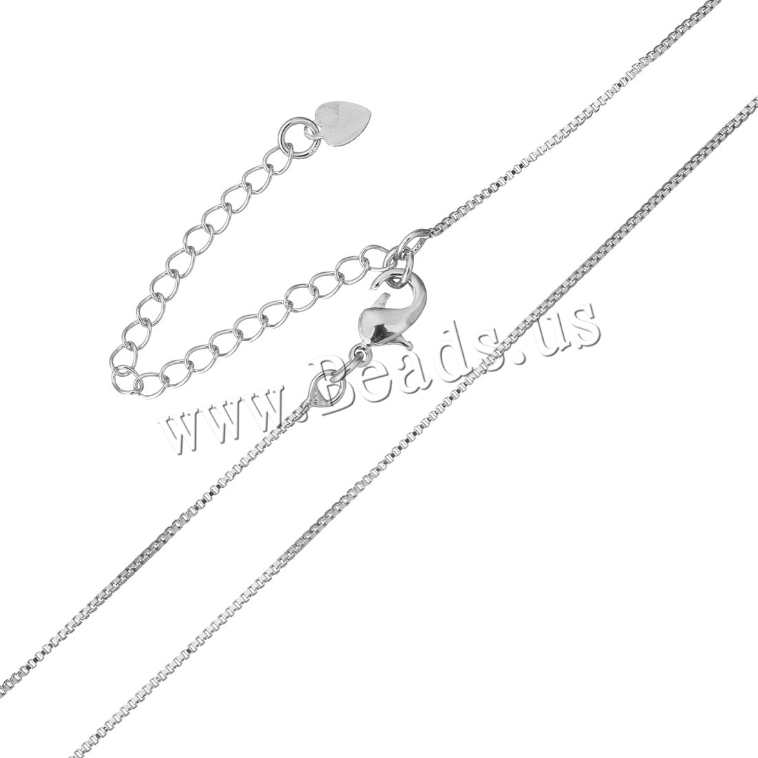 Brass Necklace Chain 2Inch extender chain platinum plated box chain & woman 1mm Length:Approx 18 Inch 50Strands/Bag Sold Bag