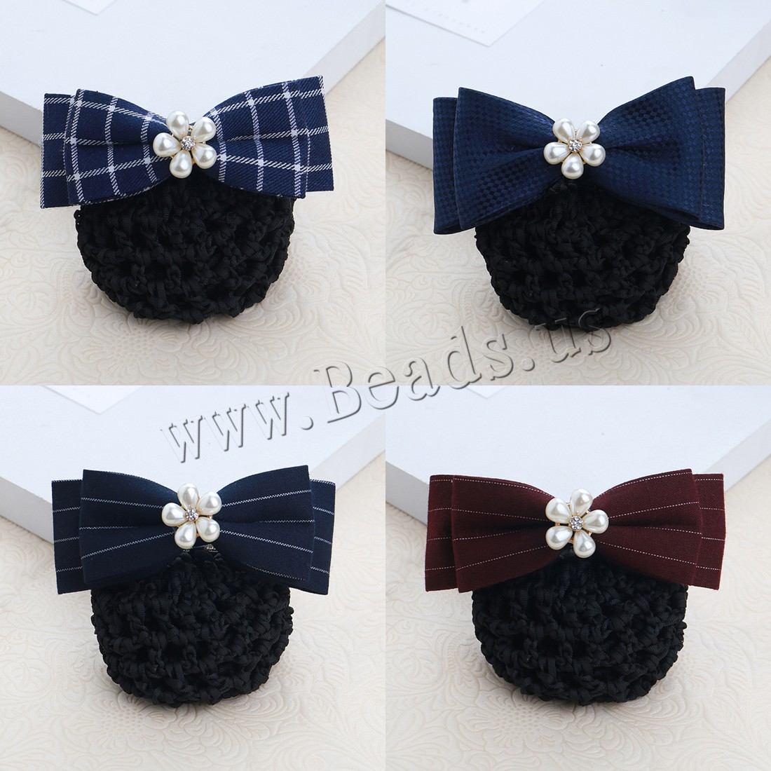 Buy Mixed Hair Accessories Polyester Plastic Pearl & Iron & Zinc Alloy gold color plated different styles choice & woman & ribbon bowknot decoration & rhinestone nickel lead & cadmium free 115x80mm Sold PC