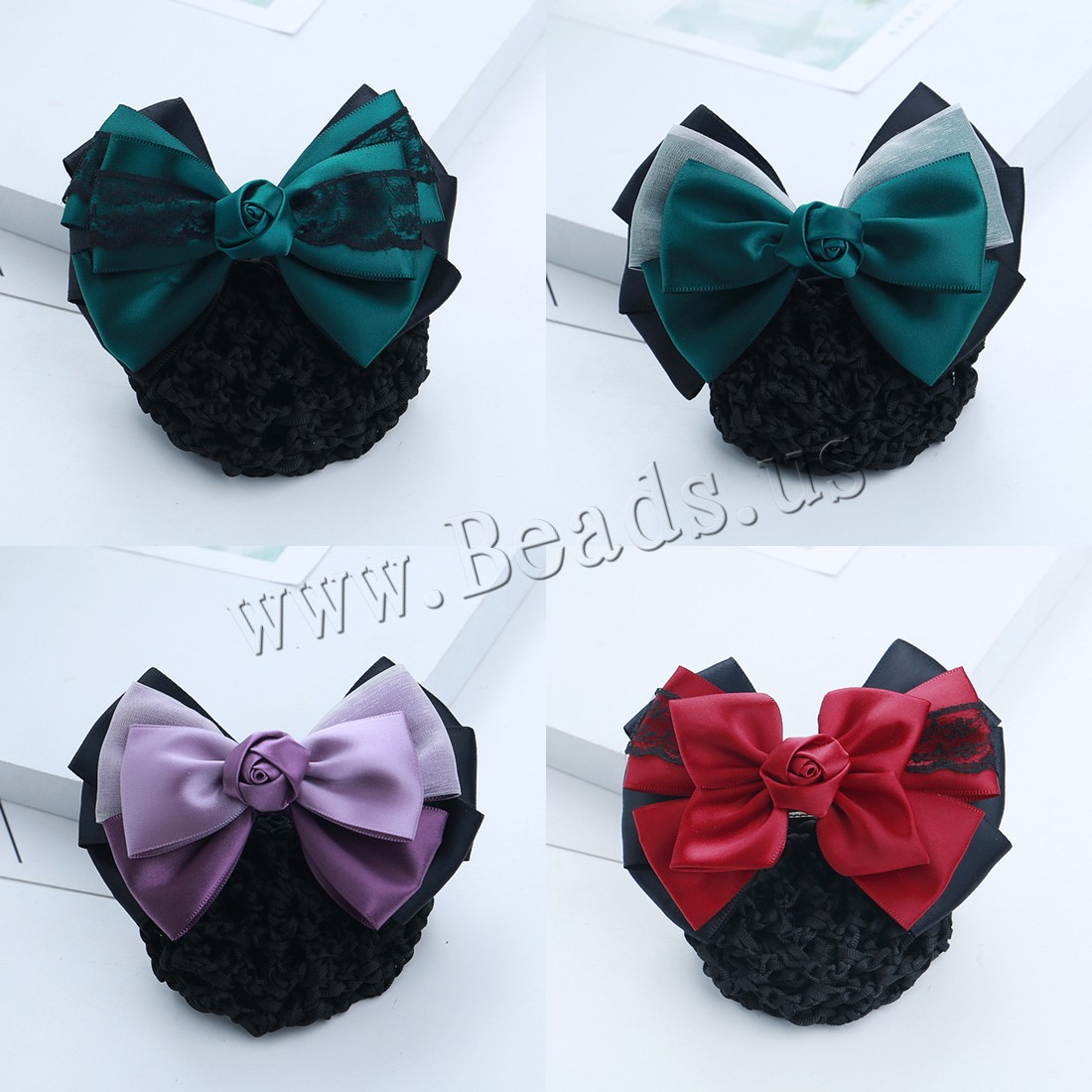 Buy Mixed Hair Accessories Polyester Lace & Iron different styles choice & woman & ribbon bowknot decoration nickel lead & cadmium free 115x80mm Sold PC