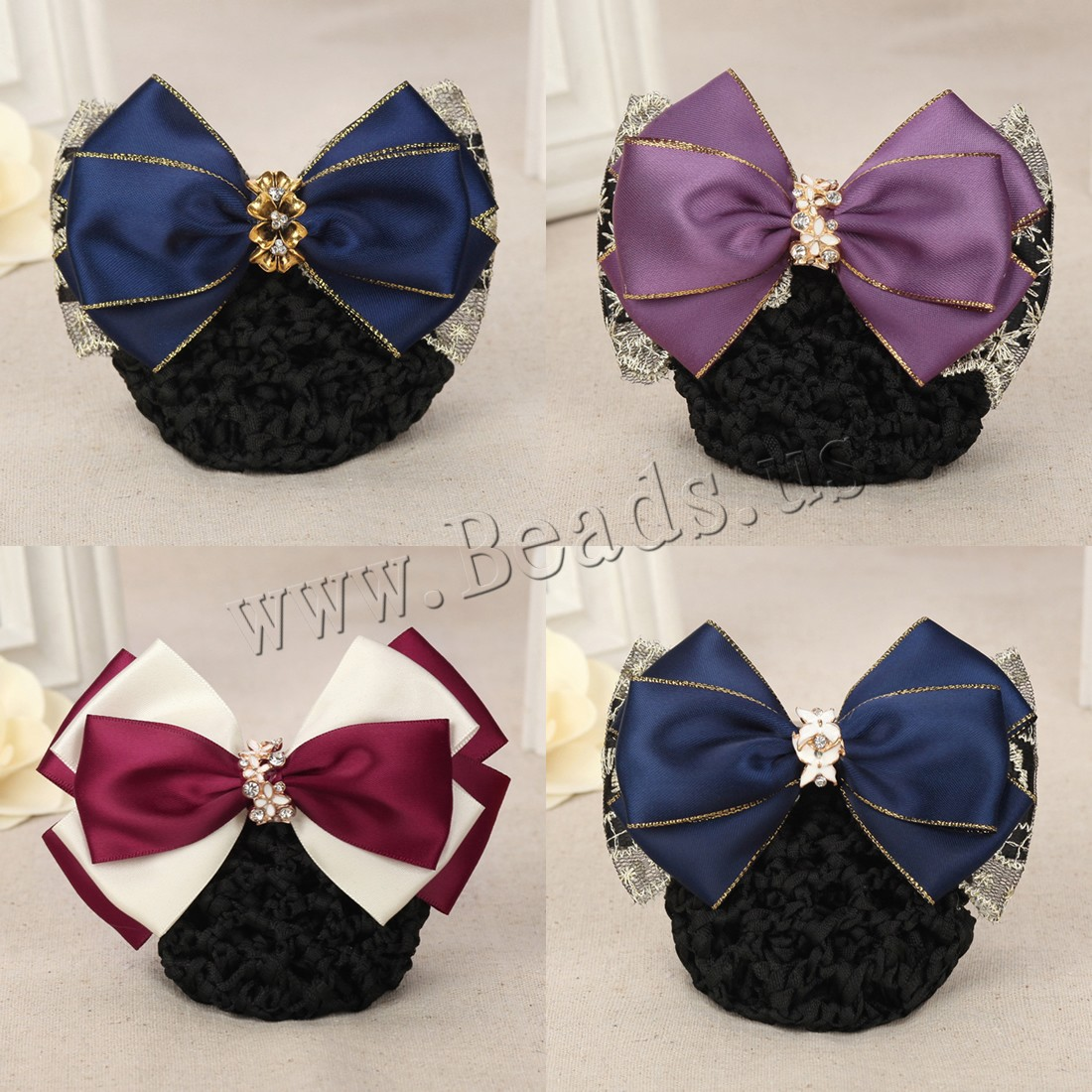 Buy Mixed Hair Accessories Polyester Lace & Plastic Pearl & Iron plated different styles choice & woman & ribbon bowknot decoration & enamel & rhinestone nickel lead & cadmium free 115x70mm Sold PC