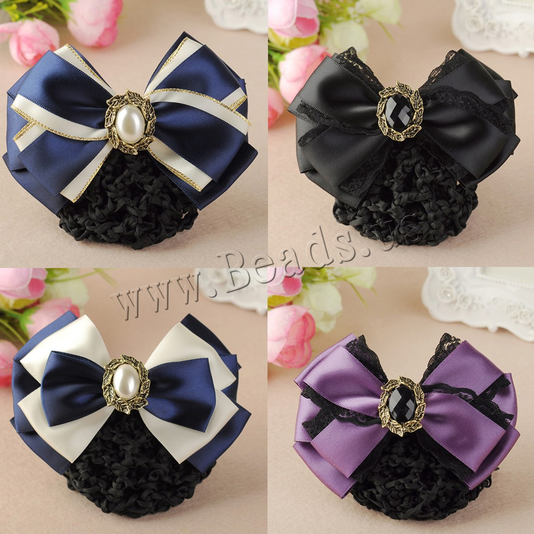 Buy Mixed Hair Accessories Polyester Crystal & Plastic Pearl & Iron & Zinc Alloy plated different styles choice & woman & faceted & rhinestone nickel lead & cadmium free 115x70mm Sold PC