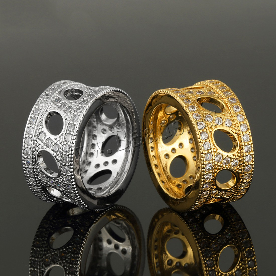 Brass Finger Ring plated Unisex & rhinestone colors choice 11mm Sold PC
