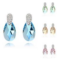 CRYSTALLIZED™ Kristall Ohrring, Messing, mit CRYSTALLIZED™, Tropfen, platiniert, für Frau & facettierte, keine, frei von Nickel, Blei & Kadmium, 9x22mm, verkauft von Paar