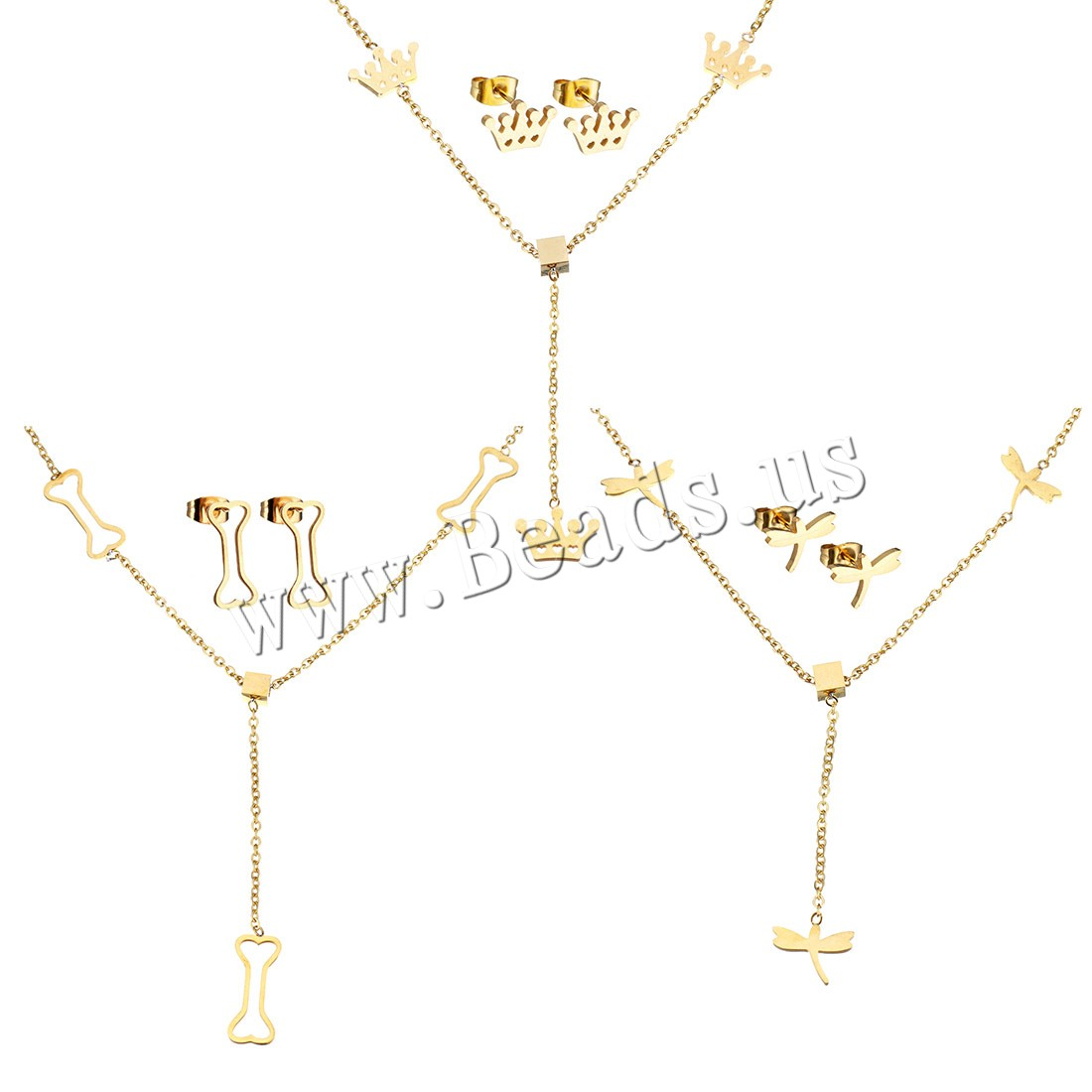 Buy Stainless Steel Jewelry Set earring & necklace 2Inch extender chain gold color plated oval chain & different styles choice & woman Length:Approx 17 Inch 5Sets/Lot Sold Lot