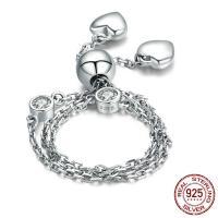 Sterling Silber Armbänder, 925 Sterling Silber, platiniert, einstellbar & Oval-Kette & für Frau & mit kubischem Zirkonia, verkauft per ca. 8.8 ZollInch Strang