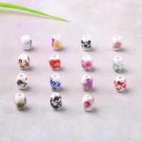 Porzellan Perle, Aufkleber, gemischte Farben, 10x8mm, Bohrung:ca. 2mm, verkauft von PC