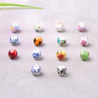 Porzellan Perle, rund, Aufkleber, gemischte Farben, 10mm, Bohrung:ca. 2mm, verkauft von PC