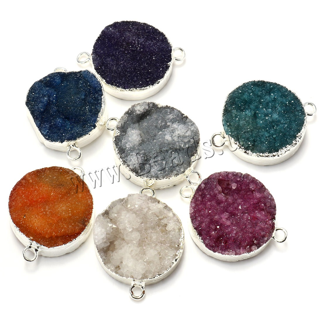 Buy Natural Agate Druzy Pendant Ice Quartz Agate Brass silver color plated druzy style & mixed & 1/1 loop 16-20x25-28x8-12mm Hole:Approx 3mm Sold Lot