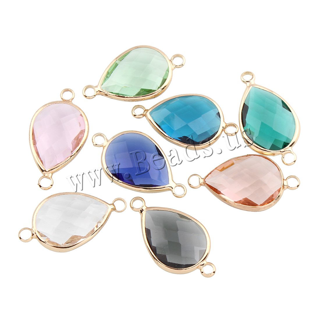 Buy Brass Connector Crystal Teardrop gold color plated faceted & 1/1 loop colors choice nickel lead & cadmium free 25x14x5mm Hole:Approx 2mm 5PCs/Bag Sold Bag