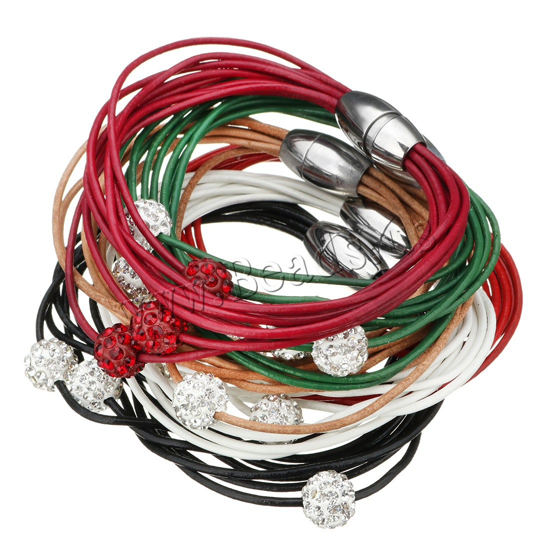 Buy Zinc Alloy Bracelet PU Leather Rhinestone Clay Pave Bead stainless steel magnetic clasp woman & mixed & multi-strand original color 10mm Length:Approx 8 Inch 15Strands/Lot Sold Lot