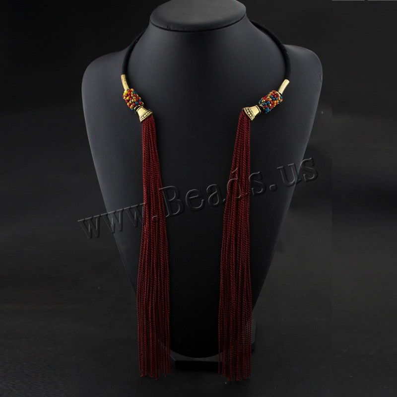 Buy Fashion Fringe Necklace Zinc Alloy iron chain & Nylon Cord gold color plated painted & woman colors choice lead & cadmium free 600mm Sold Per Approx 23 Inch Strand
