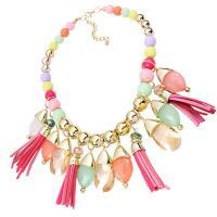 Kristall Halskette, Acryl, mit Baumwollsamt & Kristall & Zinklegierung, goldfarben plattiert, für Frau & facettierte, 480mm, verkauft per ca. 16.5 ZollInch Strang