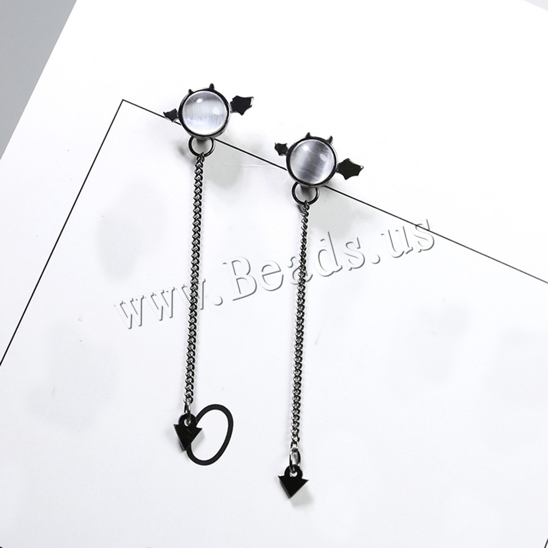 Buy Cats Eye Earring 925 Sterling Silver Cats Eye plumbum black color plated hypo allergic & woman 13x8mm 4x5mm 34mm Sold Pair