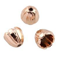 Verkupferter Kunststoff Perlenkappen, Blume, Rósegold-Farbe plattiert, 10x9.5mm, Bohrung:ca. 1.5mm, 20PCs/Tasche, verkauft von Tasche