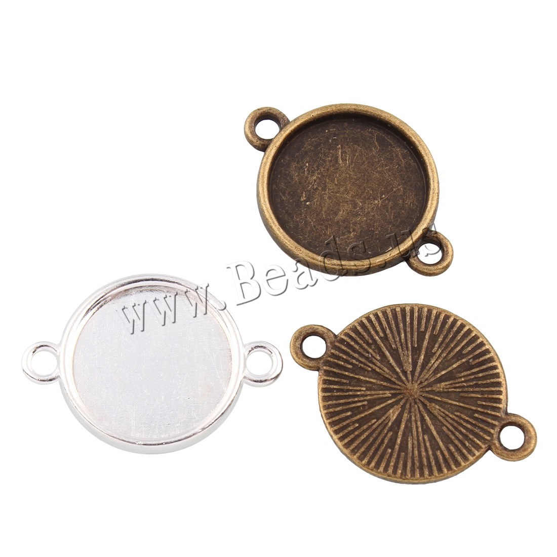 Buy Zinc Alloy Connector Flat Round plated 1/1 loop colors choice lead & cadmium free 23x16x1.50mm Hole:Approx 1.5mm Inner Diameter:Approx 14mm 25PCs/Bag Sold Bag