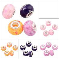 European Harz Perlen, mit Messing, Rondell, keine, 14x10mm, Bohrung:ca. 4mm, 10PCs/Tasche, verkauft von Tasche