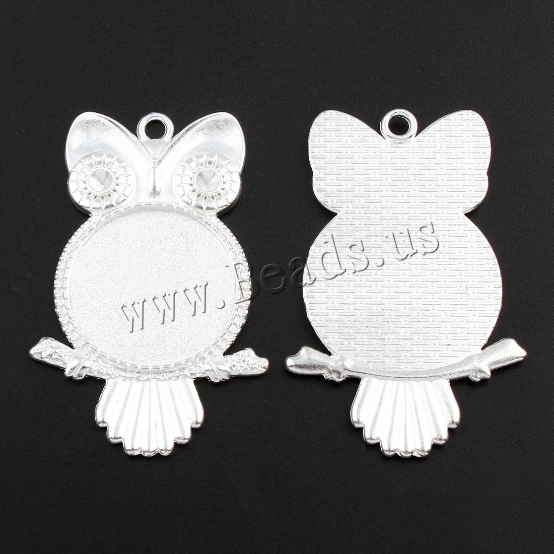 Buy Zinc Alloy Pendant Cabochon Setting Owl silver color plated lead & cadmium free 36x55x2.50mm Hole:Approx 2.5mm Inner Diameter:Approx 25 3mm 10PCs/Bag Sold Bag