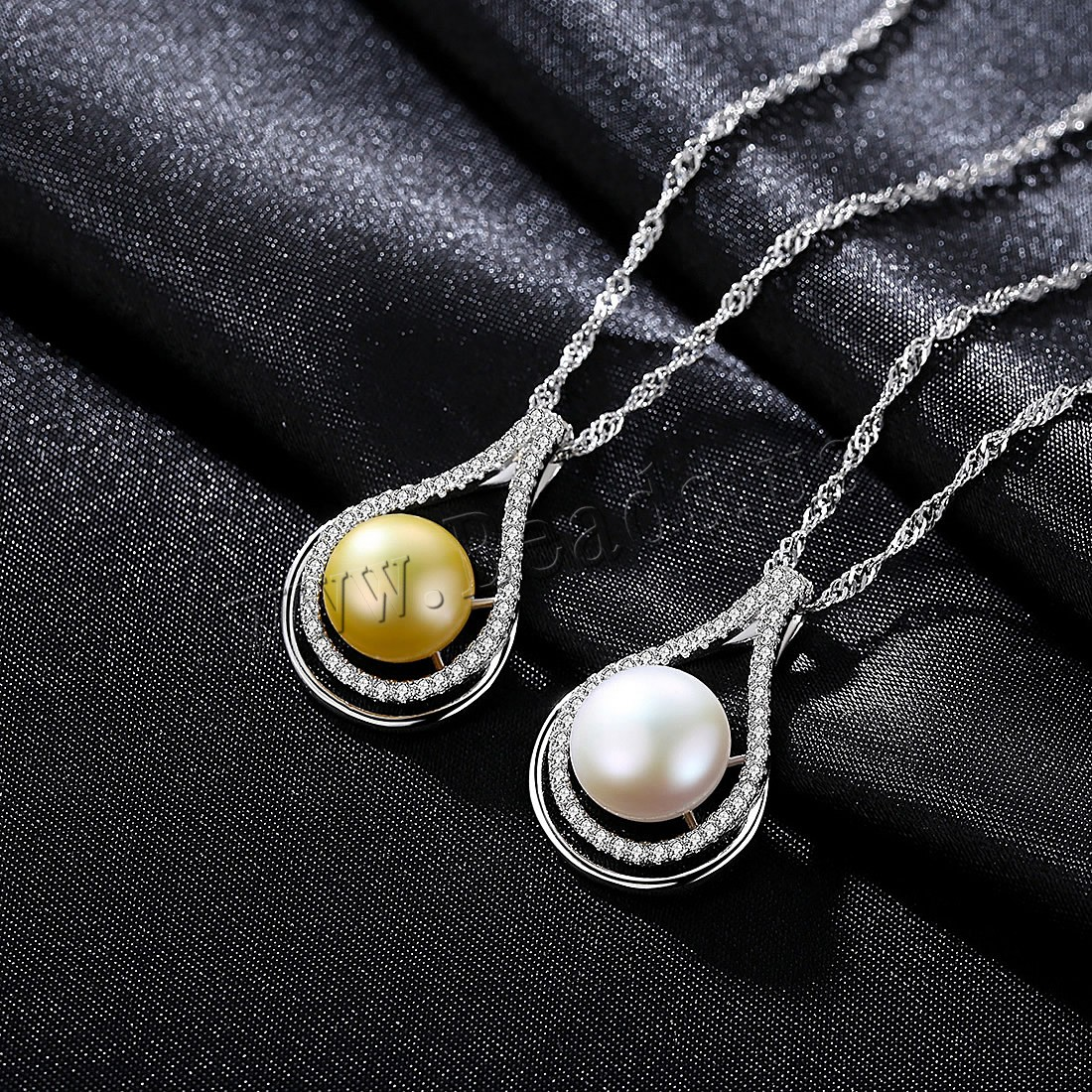 Buy Brass Necklace Freshwater Pearl 3cm extender chain platinum color plated Singapore chain & woman & cubic zirconia colors choice nickel lead & cadmium free 26x17mm Sold Per Approx 16.5 Inch Strand