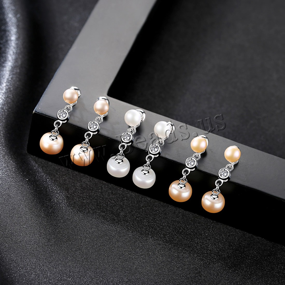 Buy Freshwater Pearl Earrings Brass Cubic Zirconia & Freshwater Pearl stainless steel post pin platinum color plated woman colors choice nickel lead & cadmium free 27x8mm Sold Pair