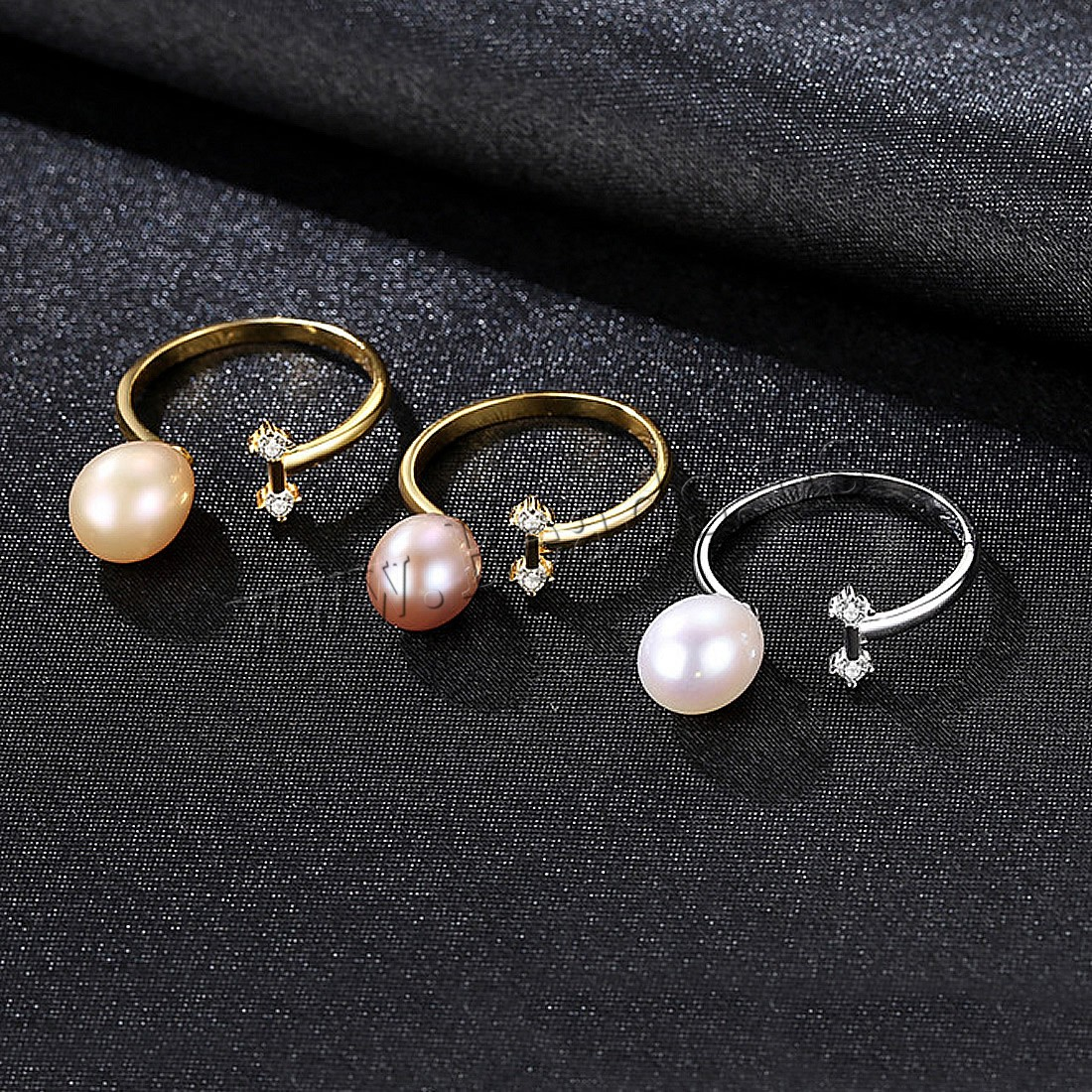 Buy Freshwater Pearl Finger Ring Brass Cubic Zirconia & Freshwater Pearl plated woman colors choice nickel lead & cadmium free 11x7.48mm US Ring Size:7-9 Sold PC