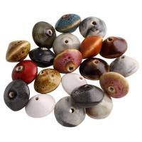 Porzellan Perle, Rondell, glaciert, keine, 20x13mm, Bohrung:ca. 2mm, 100PCs/Tasche, verkauft von Tasche