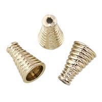 Verkupferter Kunststoff Perlenkappen, Lautsprecher, goldfarben plattiert, 10x16x10mm, Bohrung:ca. 1mm, 20PCs/Tasche, verkauft von Tasche