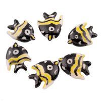 Glasierte Porzellan Perlen, Fisch, glaciert, 21x17x7mm, Bohrung:ca. 2mm, 100PCs/Tasche, verkauft von Tasche