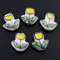 Porzellan Schmuckperlen, Blume, glaciert, keine, 15x15x6mm, Bohrung:ca. 2mm, 500PCs/Tasche, verkauft von Tasche