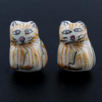 Porzellan Schmuckperlen, Katze, glaciert, 13x18x8mm, Bohrung:ca. 1mm, 500PCs/Tasche, verkauft von Tasche