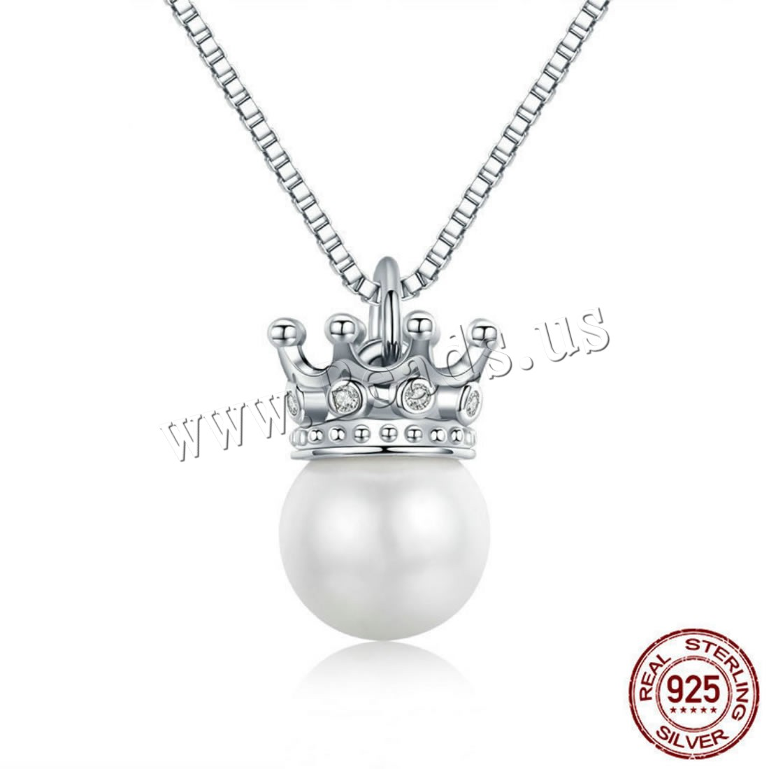 Buy 925 Sterling Silver Necklace Shell Pearl Crown platinum plated box chain & micro pave cubic zirconia & woman 8x13mm Sold Per Approx 17.7 Inch Strand