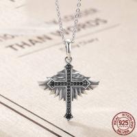 Thailand Halskette, Engelsflügel Kreuz, Oval-Kette & Micro pave Zirkonia & für Frau, 23x30mm, verkauft per ca. 17.7 ZollInch Strang