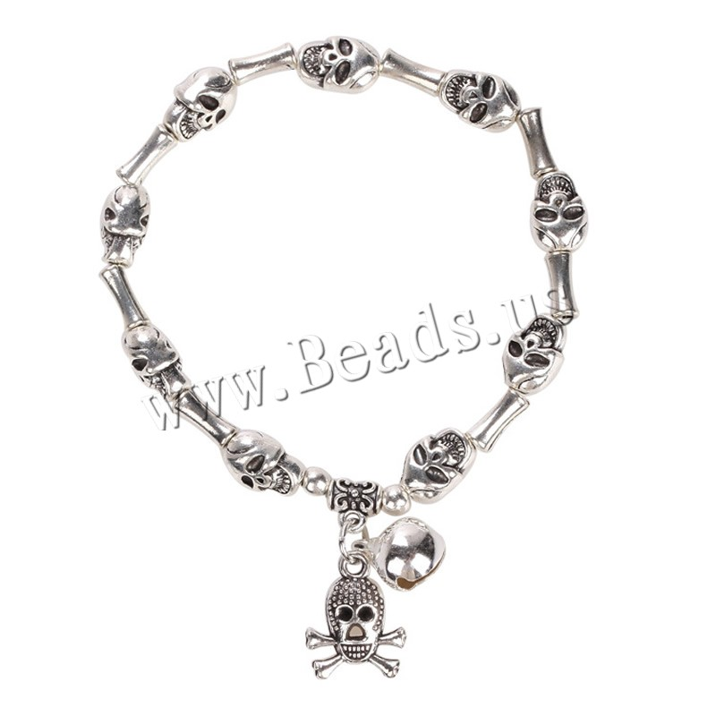 Buy Zinc Alloy Bracelet Zinc Alloy Skull platinum color plated woman lead & cadmium free 4-8mm Sold Per Approx 7.5 Inch Strand