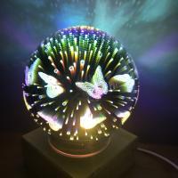Nacht LED-Licht neben 3D-Lampe, Glas, mit Holz, plattiert, automatisch die Farbe wechseln & verschiedene Muster für Wahl, 170x170x200mm, verkauft von PC