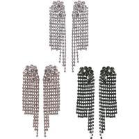 Zinklegierung Tropfen Ohrring, Messing Stecker, plattiert, für Frau & mit Strass, keine, frei von Nickel, Blei & Kadmium, 21x92mm, verkauft von Paar