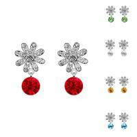 CRYSTALLIZED™ Kristall Ohrring, Messing, mit CRYSTALLIZED™, Blume, platiniert, für Frau & facettierte, keine, frei von Nickel, Blei & Kadmium, 13x25mm, verkauft von Paar