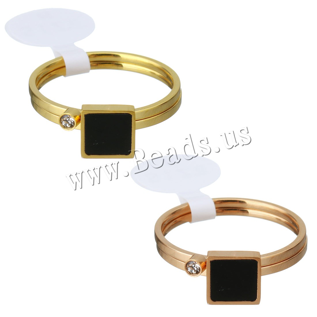 Buy Rhinestone Stainless Steel Finger Ring Resin plated different size choice & woman & rhinestone colors choice 7mm 2.5mm 2PCs/Set Sold Set