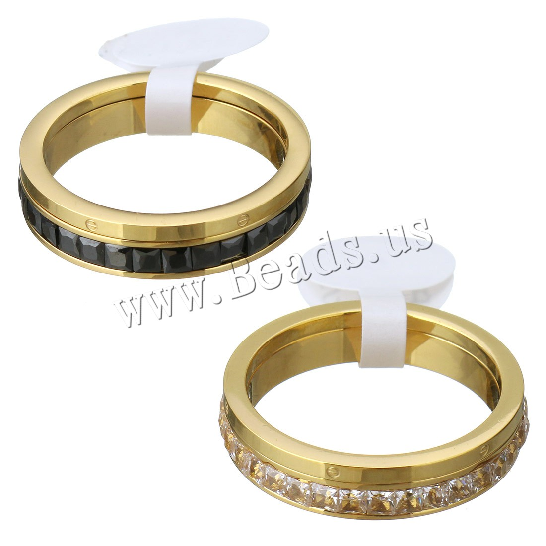 Buy Crystal Stainless Steel Finger Ring Crystal gold color plated different size choice & woman & faceted colors choice 1.5mm 3.5mm 2PCs/Set Sold Set