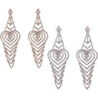 Zinklegierung Tropfen Ohrring, Messing Stecker, plattiert, für Frau & mit Strass, keine, frei von Nickel, Blei & Kadmium, 35x100mm, verkauft von Paar