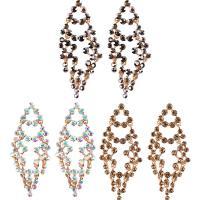 Zinklegierung Tropfen Ohrring, Messing Stecker, goldfarben plattiert, für Frau & mit Strass, keine, frei von Nickel, Blei & Kadmium, 38x80mm, verkauft von Paar